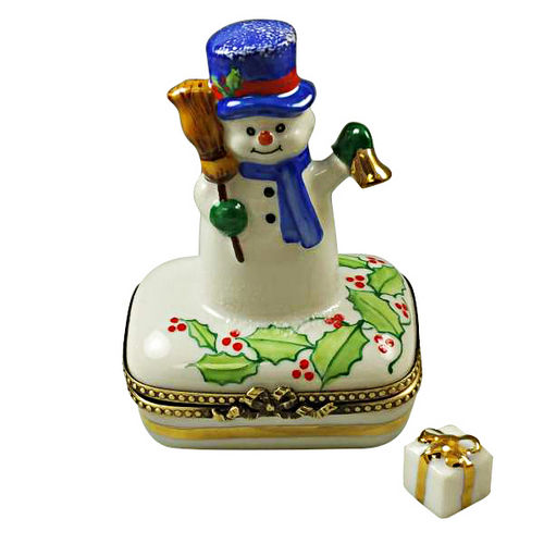 Rochard Snowman with Blue Scarf Limoges Box