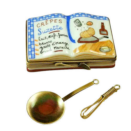 Rochard Crepe Suzette Cookbook with Whisk and Spoon Limoges Box
