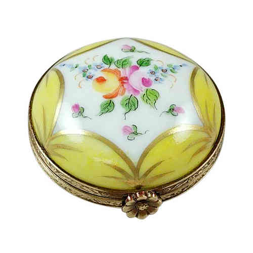 Rochard Yellow Round with Flowers Limoges Box