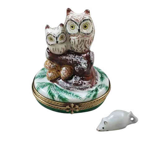 Rochard 2 Owls with Snow Mouse Limoges Box
