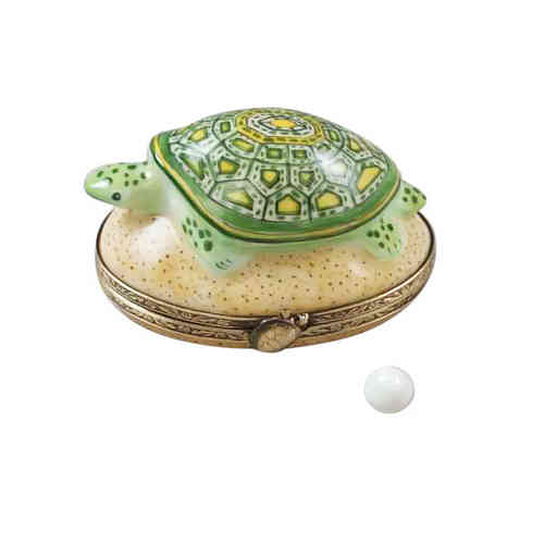 Rochard Turtle On Sand with Egg Limoges Box
