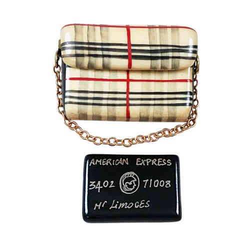 Rochard Burberry Purse with Black American Express Credit Card Limoges Box