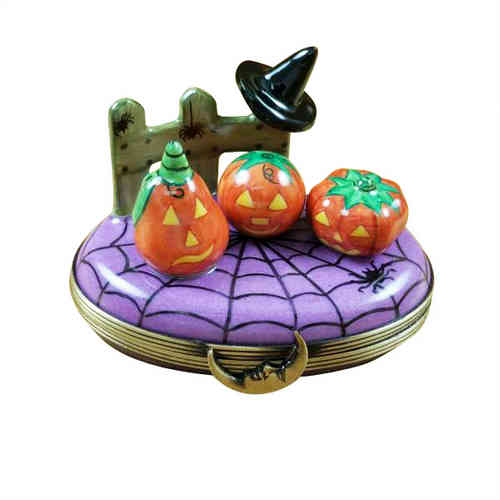 Rochard 3 Pumpkin Scene with Witch Hat Limoges Box