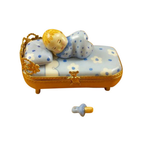 Rochard Baby in Blue Bed with Pacifier Limoges Box