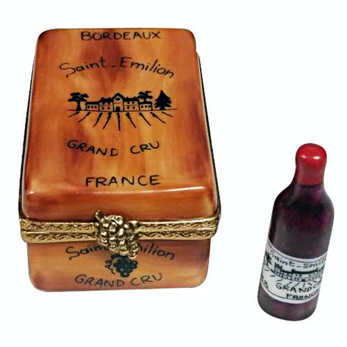 Rochard Bordeaux Wine Tasting Crate with Bottle Limoges Box
