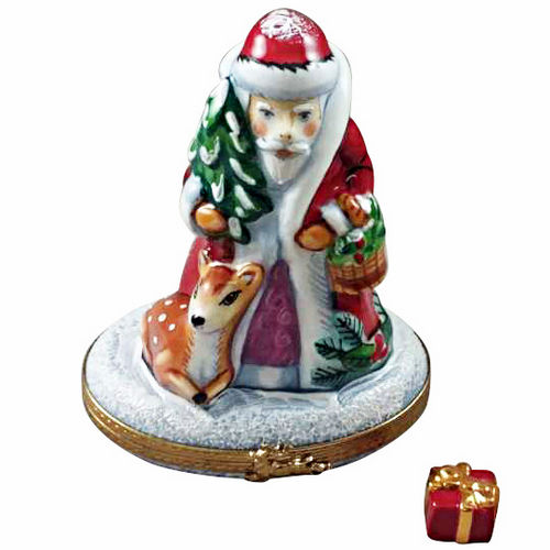 Rochard Santa with Reindeer Limoges Box