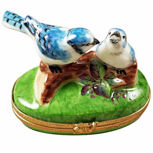 Rochard Blue Birds with Eggs Limoges Box