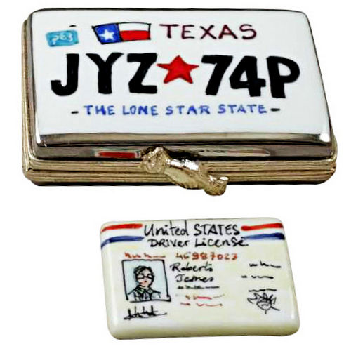Rochard Texas License Plate with Driver's License Limoges Box
